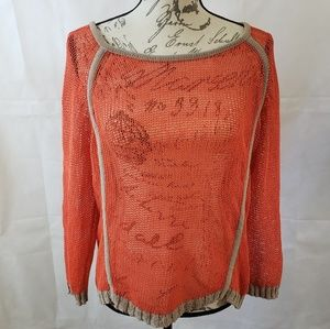 NEW Trouve Orange Netted Knitted Sweater
